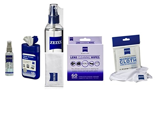 Zeiss Pre-moistened Wipes 60ct and Zeiss Lens Spray 8oz with 1 Zeiss Microfiber cloth and Bonus 50ct Lens cleaning wipes with Jumbo Microfiber cloth 12x16 inches and 2oz zeiss travel Spray by Zeiss