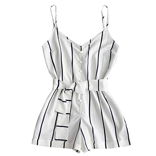 Handyulong Women's Casual Rompers, Summer Spaghetti Strap Stripe Belted Jumpsuits Shorts Holiday Playsuits for Teen ()