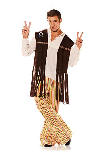 Underwraps Adult Fringed Hippie Vest with Patches, Brown -