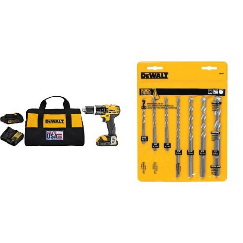 DEWALT DCD785C2 20V MAX Lithium Ion Compact 1.5 Ah Hammer Drill/Driver Kit with  7-Piece Premium Percussion Masonry Drill Bit Set