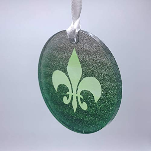 Green Fleur de Lis Glitter Acrylic Background