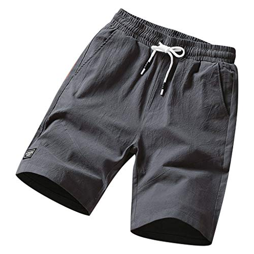 Leegor 2019 Men's Solid Drawstring Loose-Fitting Shorts Elastic Pant Casual Outdoor Sport Pocket Outdoor Climbing Trousers Dark Gray