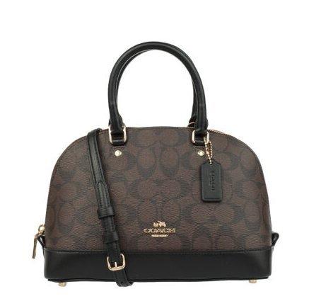 Coach F58295 Mini Sierra Satchel Brown/Black Signature Crossbody Handbag (Brown)