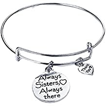 Fengzhicai Always Sister Always There Letter Friendship Bracelet Expandable Bangle Jewelry - Silver