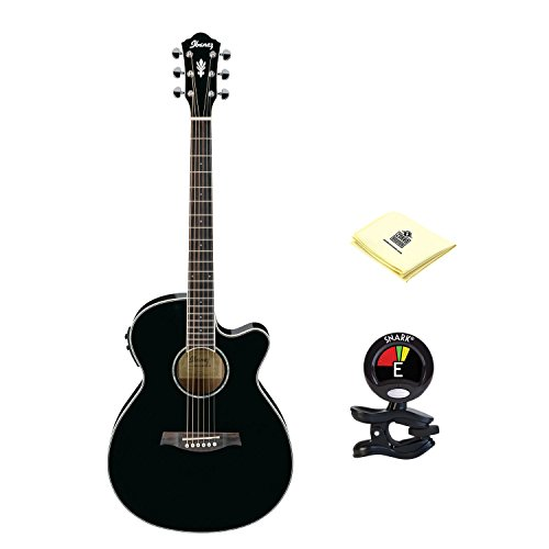 Ibanez Aeg10ii Acoustic Guitar In Black With Clip On Tuner And Zorro Sounds Guitar Polishing Cloth