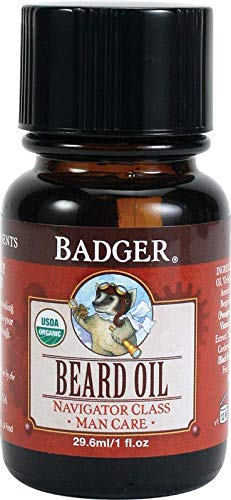 - Badger - Organic Beard Oil, Conditions and Grooms Facial Hair and Moisturizes Skin - 1 fl oz Glass Bottle