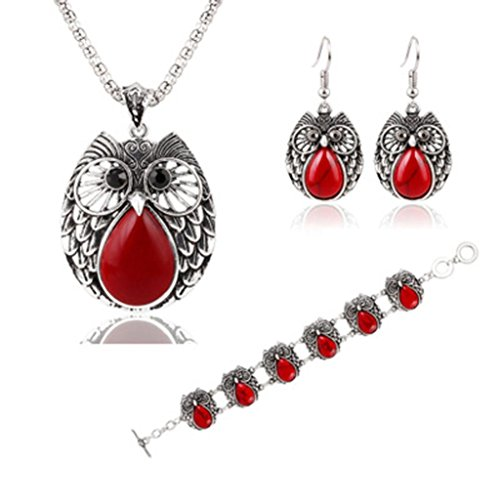 Botrong Turquoise Owl Pendant Tibet Silver Earrings Bracelet Necklace Jewelry Set Gifts (Red)