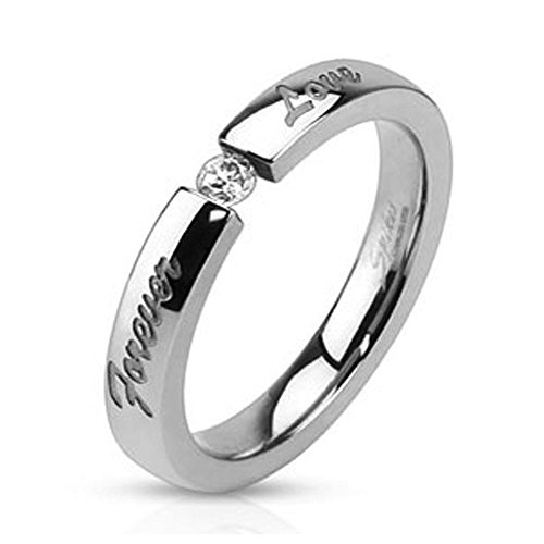 with 'Forever Love' Engraved and 3mm Tension set CZ, Ring Width of 3MM (Engraved Tension Set Ring)