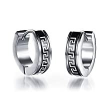 Aries Black Pattern Stainless Steel Huggie Hoop Earrings for Unisex