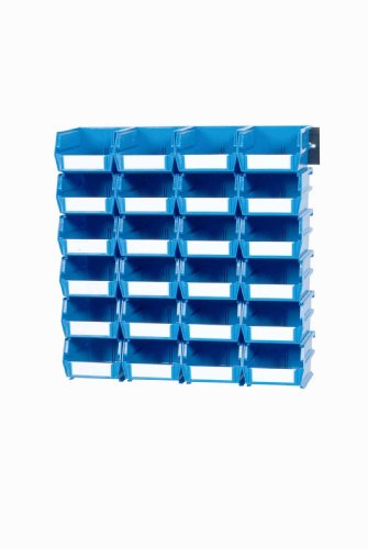 Bin Rail - Triton Products 3-220BWS LocBin 26 Piece Wall Storage Unit with 7-3/8 Inch L x 4-1/8 Inch W x 3 Inch H Blue Interlocking Poly Bins, 24 CT, Wall Mount Rails 8-3/4 In. L with Hardware, 2 pk