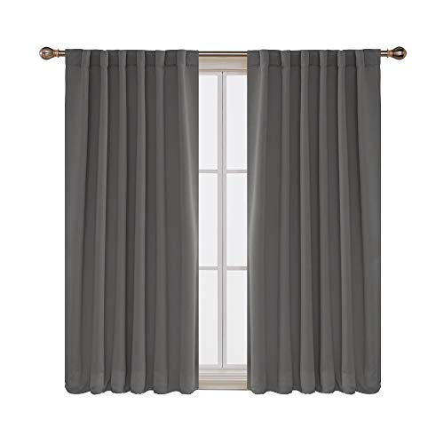 Deconovo Rod Pocket and Back Tab Curtains Blackout Curtains Room Darkening Blinds Thermal Insulated Curtains for Bedroom 52x63 Inch Light Grey 2 Panels