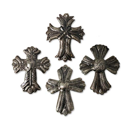 Set of 4 Small Metal Milagro Crosses, Novelty Gift, Small Ornamental Crosses, Handmade in Haiti, Sacred Cross, 3.5 x 4.5 Inches