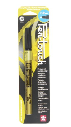 - Sakura 41381 Blister Card Pentouch Metallic Ink Marker, Fine, Gold