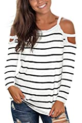 """Jescakoo Summer Striped Long Sleeve Shirts for Women Scoop Neck Tops Please refer to the size chart to ensure your size before order, Size Chart: 1 inch= 2.54cm S-----bust 35.4"""" / waist-35.4"""" / length-27.2"""" M-----bust 37.4"""" / waist-37.4"""" / le..."""