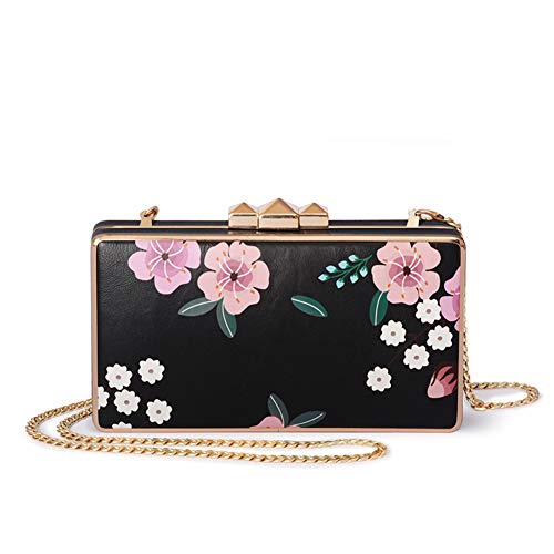- Evening clutch,Printing With chain strap Oblique cross Women's Banquet bag For Wedding Party Prom-A 18x10x3cm(7x4x1inch)