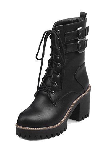 AgeeMi Shoes Women's Closed-Toe PU Lace-Up High-Heels Zipper Mid-Top Boots Black