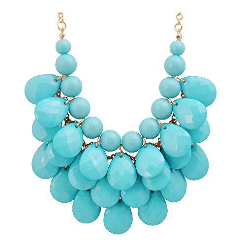 Jane Stone Fashion Bubble Layered Necklace Floating Teardrop Collar Statement Jewelry for Women(Fn0580-Aqua) - Date Turquoise Necklace