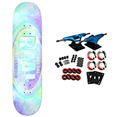 """Real Davis Watercolor 8.25"""". Real decks are made using an exclusive technique producing stronger, longer lasting, better performing skateboard decks. Core trucks are light weight and feature heavy duty aluminum with grade 8 steel kingpins and..."""