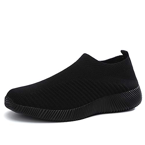 L LOUBIT Women Walking Shoes Slip on Athletic Tennis Breathable Running Sneakers 1926 Black 41 ()
