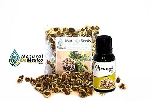 300 Moringa Seeds and 1 Organic Edible Moringa Oil - 300 semillas de Moringa y 1 aceite comestible de moringa organico - Natural de Mexico