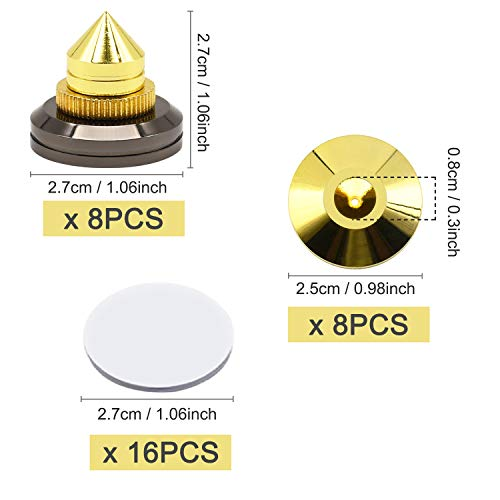 8 Set Golden Speaker Spikes, Speaker Stands Subwoofer CD Audio Amplifier Turntable Isolation Stand Feet Cone Base Pads by Awpeye (Image #2)
