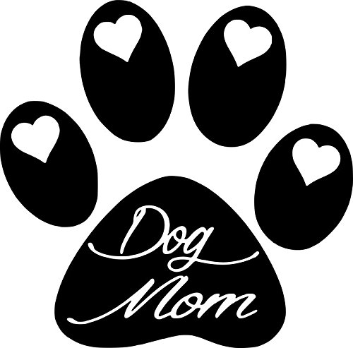 ND014 Dog Paw Dog Mom Decal Sticker | 5.5-Inches By 5.4-Inches | Premium Quality Black Vinyl