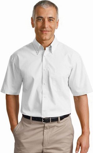 Port Authority Men's Port Authority Short Sleeve Value Poplin Shirt. XL White