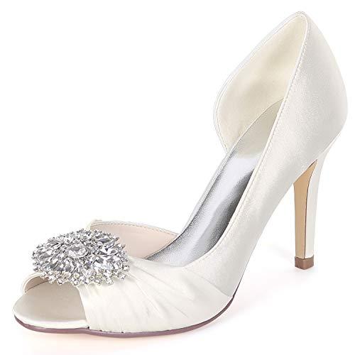 Chaussures forme Ivoire Talons Plate Pour Toe Mariage Satinée Peep Hauts Low De Satin9cm Mousseux Femme Strass yc L TkuwlOXiPZ
