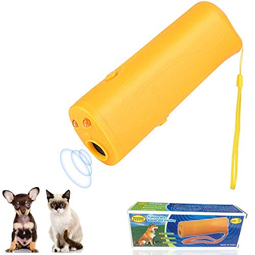 Ultrasonic Dog Repeller and Trainer Device 3 in 1 LED Pet Anti Barking Stop Bark Handheld (QGQ-Yellow)