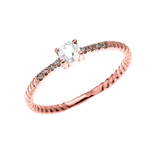 Bague Femme/ Bague De Fiançailles 10 Ct Or Rose Solitaire Blanc Topaze Et Diamant Conception De Corde