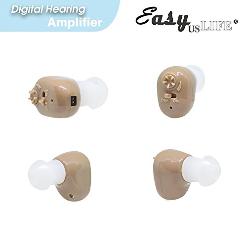 Large Quarter Sized ,Beige Color, 2-Pack, In The Canal (ITC), New Digital Hearing Ear Amplifier Kit By EASYUSLIFE , Rechargeable and Interchangeable , Adjustable Control , Suitable For Men and Women by EASYUSLIFE (Image #5)
