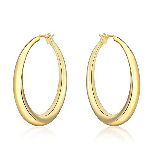 Women Ladies 18K Gold Fashion Classic Big Hoop Drop Dangle Earrings Jewelry Gift