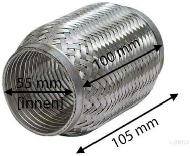 Hosenrohr Flexst/ück aus Edelstahl Flexrohr Auspuff INTERLOCK /Ø 55mm x 105mm