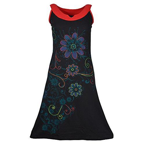 Abito donna senza maniche con stampa floreale e colorato ricamo LMN6015-BLKXL