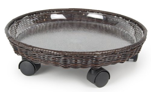 Plastec CD418BN All Weather Wicker Caddy Plant Saucer, 18-Inch, Brown