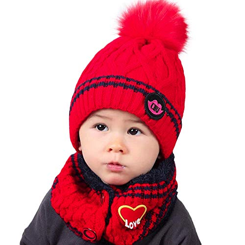 Price comparison product image Ankola Cap Neckerchief Set Winter Kids Warm Hairball Hats Knitted Scarf Beanies for Autumn Winter (6 Months-8 Years, Red)