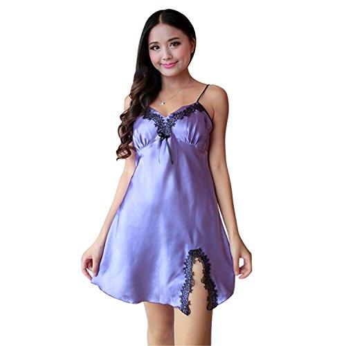 Velma Dress Up (Woodin Ladies Sexy Silk Satin Night Dress Sleeveless Nighties V-neck Lace Sleepwear Purple L)