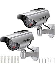 AlfaView Dummy Bewakingscamera op zonne-energie, namaakcamera, dummy, dummy, voor binnen en buiten, valse bewaking, huisbeveiliging, (2x Pack)
