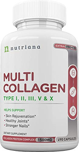 41Rd9c6sHTL - Best Multi Collagen Peptides Protein Pills Type I, II, III, V, X - Hydrolyzed Collagen Capsules for Women and Men for Anti-Aging, Hair, Joints and Bones - 90 Collagen Supplements 1500 mg