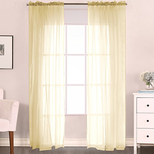 H.Versailtex 2-Piece Solid Pale Yellow Sheer Window Curtains/Drapes/Panels/treatment Size 52″W x 63″L – Rod Pocket Top – Pair per Pack