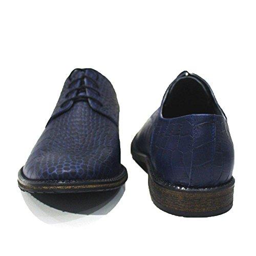 PeppeShoes Modello Abano Terme - Handgemachtes Italienisch Leder Herren Navy Blau Oxfords Abendschuhe Schnürhalbschuhe - Rindsleder Geprägtes Leder - Schnüren