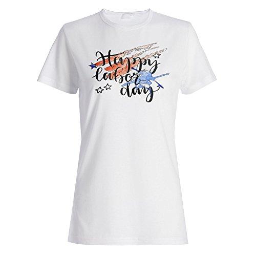 Neue Glückliche Arbeitstag Usa Damen T-shirt l883f