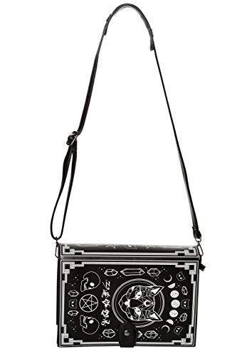 Spellbinder Bag with Cat Pentagram and Occult Symbols Handbag – Black or Off-White – One Size (Black)