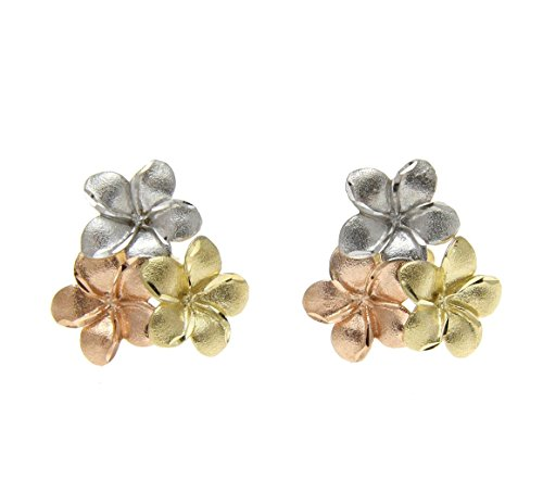 14K yellow rose white tricolor gold Hawaiian plumeria cluster stud post earrings