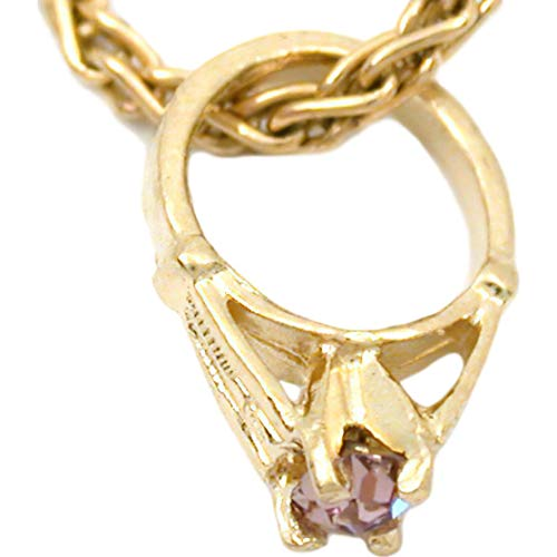 14K Yellow Gold June Birthstone Baby Ring Charm