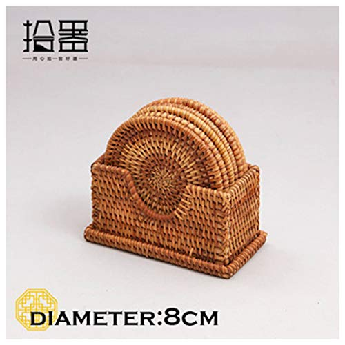Viet's Hand Rattan placemats - 6pcs/lot Creative Tea Coasters Set Cup Cushion Kungfu Tea Accessories Tableware Placemat Saucer Rattan Weave Cup Mat Pad Holder - 8cm Set