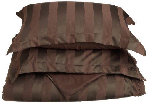 Elegance Linen® WRINKLE & FADE RESISTANT Ultra Soft 3-Piece Woven Dobby Stripe 90 GSM Microfiber Duvet Cover Set - KING/CALIFORNIA KING, Chocolate Brown