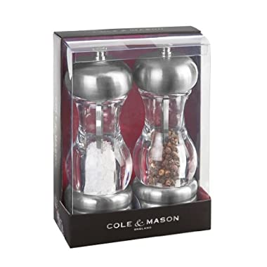 COLE & MASON Saturn Salt and Pepper Grinder Set - Stainless Steel Salt Grinder and Pepper Mill includes Gift Box, Precision Mechanisms and Premium Sea Salt and Peppercorns