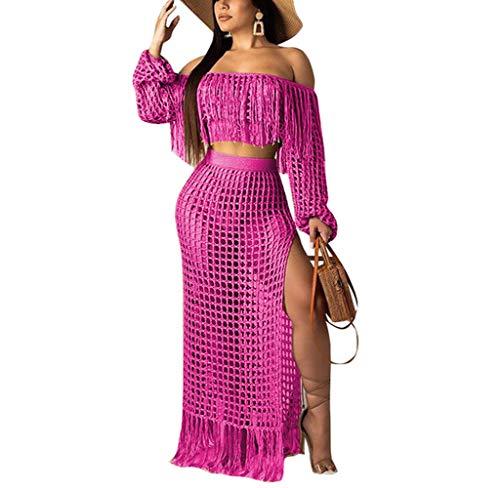 (Remelon Women's 2 Piece Hollow Out Beachwear, Off Shoulder Long Sleeve Crop Top & High Slit Maxi Skirt Bikini Cover up Pink)