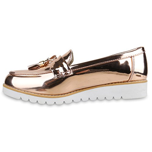 Damen Slipper Lack Plateau Loafers Metallic Schuhe Profilsohle Loafer Flats  Glitzer Slippers Quasten Lochung Flandell Gold ... cb1e9ec3cb